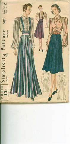 Vintage Sewing Pattern 1930s Daytime and by shellmakeyouflip, $38.00