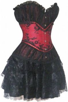 Red  Black Vintage Sexy Women Corsets and Tutu sets 30023