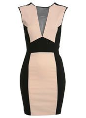 Nude and Black Bodycon Dress