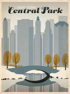 New York Central Park winter scene travel poster by Anderson Design Group Old Poster, New York Poster, Poster City, Poster Wall, Central Park Nyc, Art Central, Graphic Art, Graphic Design, Vintage Graphic