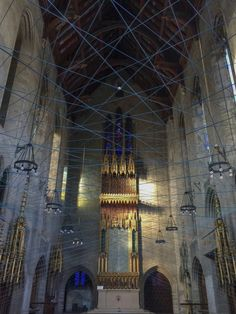 """After years of sitting in quiet disuse, the St. Andrew's Collegiate Chapel at Spruce and 42nd will open its doors to the public for a three-day-only installation by artist Aaron Asis called """"Ci-Lines."""" #philly #philadelphia #aaronasis 