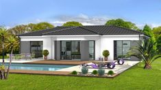 20x30 House Plans, House Floor Plans, Bungalow House Design, Small House Design, Small Villa, Hill Country Homes, Contemporary House Plans, Modern Farmhouse Plans, Swimming Pools Backyard
