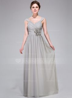 A-Line/Princess V-neck Floor-Length Chiffon Bridesmaid Dress With Ruffle Flower(s) (007037178) - JenJenHouse