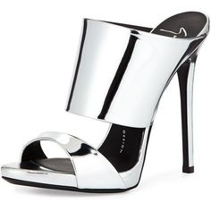 Giuseppe Zanotti Metallic Stiletto Mule Slide (2.680 RON) ❤ liked on Polyvore featuring shoes, sandals, heels, silver, heeled sandals, strappy sandals, high heel shoes, strappy heel sandals and slip on shoes #giuseppezanottiheelssilver