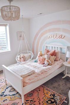Freestanding Wooden Name Sign for Nursery Big Girl Bedrooms, Little Girl Rooms, 4 Year Old Girl Bedroom, Girls Pink Bedroom Ideas, Cool Girl Rooms, Bedroom For Girls Kids, Pink Bedrooms, Rainbow Room, Toddler Rooms
