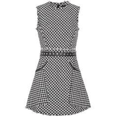 Alexander Wang Embellished checked cotton-blend tweed mini dress (3.170 BRL) ❤ liked on Polyvore featuring dresses, vestidos, black, wetlook dress, shiny dress, check print dress, alexander wang dress and checkered dress