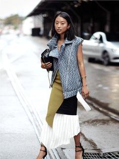 handbag in layered clothes
