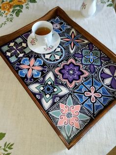 wooden tray Breakfast tray the author's tray romantic gift gentle Breakfast the Breakfast tableEaster decor Thrift Store Crafts, Crafts To Sell, Sewing For Beginners Diy, Breakfast Tray, Romantic Breakfast, Thali Decoration Ideas, Mosaic Projects, Handmade Crafts, Mosaic Art