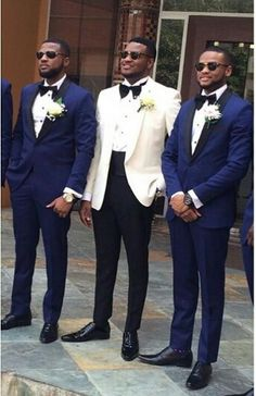 I kind of like the white suited groom with the dark blue groomsmen ~Claire Wedding Tux, Wedding Attire, Dream Wedding, White Tuxedo Wedding, Blue Groomsmen, Groom And Groomsmen Attire, Wedding Colors, Wedding Styles, Wedding Ideas