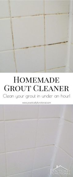 This homemade grout cleaner is such a great way to clean tile grout; all you need is bleach and baking soda and your grout will be shiny new again in an hour!