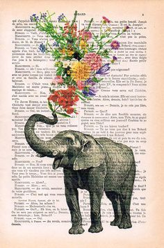Elephant with Flowers - Love book print - Elephant in love - Printed over vintage dictionary book page, Elephant art print Book Page Art, Book Pages, Book Art, Whatsapp Wallpaper, Star Wars Concept Art, Indian Paintings, Art Paintings, Art Inspiration Drawing, Watercolor Paintings Abstract