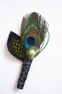 Peacock boutonniere - masculine