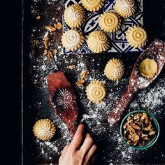 Cookies by Raquel Carmona Romero on Photography Tips Iphone, Food Photography, Arabic Dessert, Arabic Food, Filled Cookies, Spiral Pattern, Moon Cake, Aesthetic Movies, Food Styling