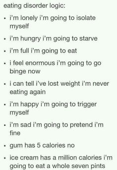eating disorder logic - oh yes, this is very familiar