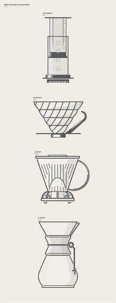Brew Method Illustrations for Slate Coffee Roasters | Blake Quackenbush