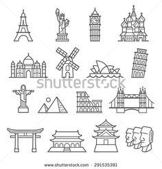 Landmark Icons. Liberty, Pisa, Eiffel, Big Ben, Taj Mahal, Saint Basil, The Redeemer, Windmill, Opera House, Piramid, Colosseum, London Bridge, Fushimi Inari, Forbidden City, Osaka Castle, Moai.