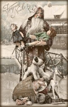 his French postcard is from the 1920's with Pere Noel and beautiful Lenci Dolls and other wonderful toys.