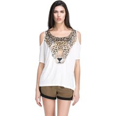 Hot New Summer Women Tiger Head Printed Rhinestone Rivet Round Neck Dew shoulder Sleeve Loose T-shirt