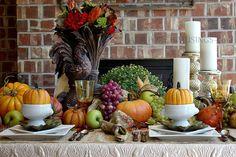 Fall Table - Fall Autumn ThanksGiving - Back Porch Musings Pumpkin Centerpieces, Thanksgiving Centerpieces, Thanksgiving Ideas, Autumn Decorating, Tuscan Decorating, Decorating Ideas, Sweet Home Design, Halloween Decorations, Table Decorations