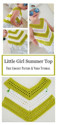 Little Girl Summer Top Free crochet pattern and video tutorial Little Girl Dresses Crochet Free girl Pattern summer Top Tutorial Video Crochet Toddler, Crochet Baby Clothes, Crochet For Kids, Crochet Dress Girl, Crochet Dresses, Pull Crochet, Free Crochet, Crochet Shawl, Easy Crochet