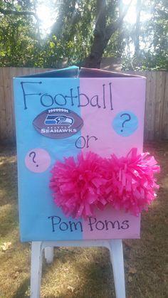Baby gender reveal box Football vs. Pom Poms