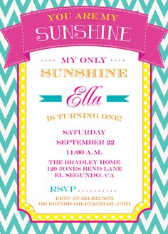 You Are My Sunshine -   Birthday or Baby Shower Invitations -  print your own