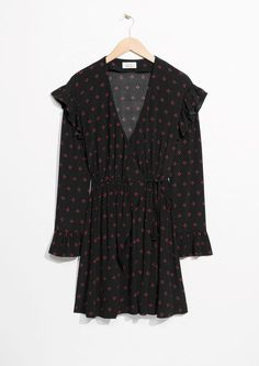 & Other Stories image 1 of Frill Wrap Dress in Red Dots