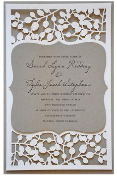"Beautiful Laser Cut #Wedding Invitations -- Find awe-inspiring wedding ideas in the PDF ""663 Must-Have Wedding Ideas"" at www.oliverink.etsy.com"