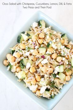 Orzo Salad with Chickpeas, Cucumbers, Lemon, Dill, & Feta on twopeasandtheirpod.com Love this healthy salad!