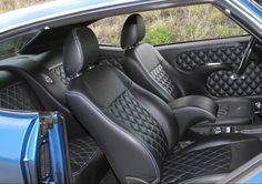 chevelle custom interior #BecauseSS diamond stitch door panels seats console black blue