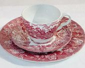 Wood & Sons Swirl Cup Saucer and Plate (3) Piece Pink Red Enoch Woods Scenery English by Bon Appétit Antique
