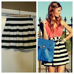 Black and White Striped A line mini skirt Excellent used condition.Button closure at the back but can also be worn in front. Love Culture Skirts A-Line or Full