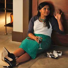 sequin skirt + baseball tee ... Mindy is soooo cute!