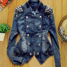 courte jean design manteau veste en jean vêtements de dessus pour femmes – EUR € 19.07