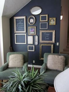 You can actually do this without painting chalkboard paint on the wall. I did something similar and just wrote on the painted wall (the color needs to be darker than the chalk color so it will show up of course)...and I loved it. this way you can just wipe with a damp cloth and redesign to fit your taste.