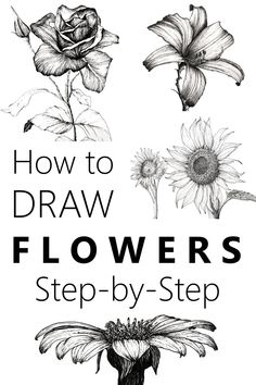 Learn to draw flowers with a pen and pencil and create your own beautiful floral art Many flower drawing examples and an easy guide flowerdrawing drawing floralart flowerart - Flower Drawing Tutorial Step By Step, Flower Drawing Tutorials, Art Tutorials, Drawing Flowers, Painting Flowers, Art Flowers, Flower Tutorial, Floral Flowers, Step By Step Sketches