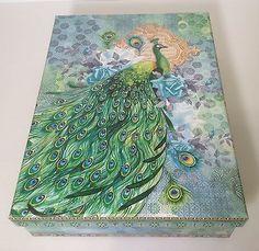 New-Punch-Studio-Watercolor-Peacock-Rose-Desk-Office-Organizer-File-Storage-Box