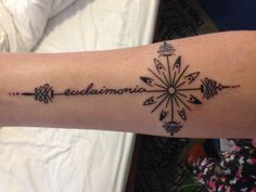 "My first travel tattoo, ""eudaimonia"" meaning human flourishing or self actualization. Each dot for a chakra, the forth or the heart chakra is the biggest in the center of the compass :)"