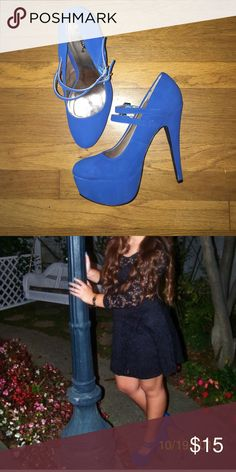 Royal Blue Heels Worn only once! In great condition! Clean and perfect to make any outfit stand out! Shoes