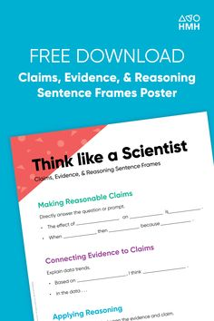 Download Think Like a Scientist posters for your classroom. Getting students comfortable thinking like scientists is no small feat, but it's the best way to teach science. Visit Shaped, the official blog of HMH The Learning Company.  #science #classroomposters #classroom Science Resources, Teaching Science, Learning Resources, The Learning Company, Classroom Posters, High School Students, Scientists, Problem Solving, Sentences