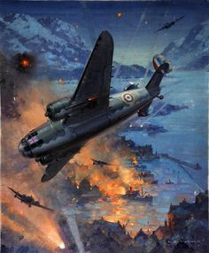 A raid by Hudsons of the Coastal Command on German shipping at Aalesund, Norway, in which eleven ships were hit. Painting by Charles E. Turner.