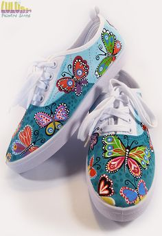 Casual Fashion Shoes for girls - Hand Painted Sneakers with colorful butterflies - Facebook: Lulush.Shoes