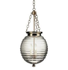 Robert Abbey Beehive Pendant in Brushed Nickel and Clear Glass - NOW IN STOCK!  $390