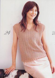 "Photo from album ""Lets knit series 30 kr"" on Yandex. Color Beige, Crochet Clothes, Knit Crochet, Crochet Sweaters, Crochet Tops, Crochet Patterns, V Neck, Album, Clothes For Women"