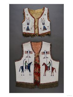 A Plains Beaded Hide Child's Vest and a Sioux Pictoral Beaded Vest