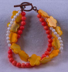 Pink Coral and Yellow and White Mother of by CatherineTreasureBox, $29.95