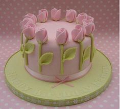 Classic Vanilla filled with Madagascan Vanilla buttercream & Raspberry Jam ~ decorated in pale green & powder pink fondant rose buds x Cake Decorating Designs, Easy Cake Decorating, Birthday Cake Decorating, Cake Decorating Supplies, Cake Decorating Techniques, Cake Designs, Baking Supplies, Decorating Tips, Cake Icing