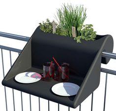 Table d'appoint Balkonzept à suspendre / Pour balcons - Jardinière intégrée Anthracite - Rephorm - Décoration et mobilier design avec Made in Design
