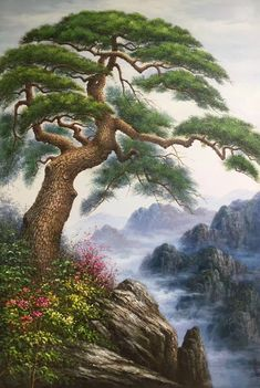 hand-made oil painting,decoration,mural. Chinese Landscape, Fantasy Landscape, Landscape Art, Landscape Paintings, Abstract Paintings, Kinkade Paintings, Waterfall Paintings, Tree Artwork, Fine Art