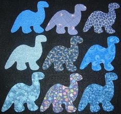 $9.95  9 Easy to Use Blue Dinosaurs Iron On Fabric Appliques   -----  Free Shipping